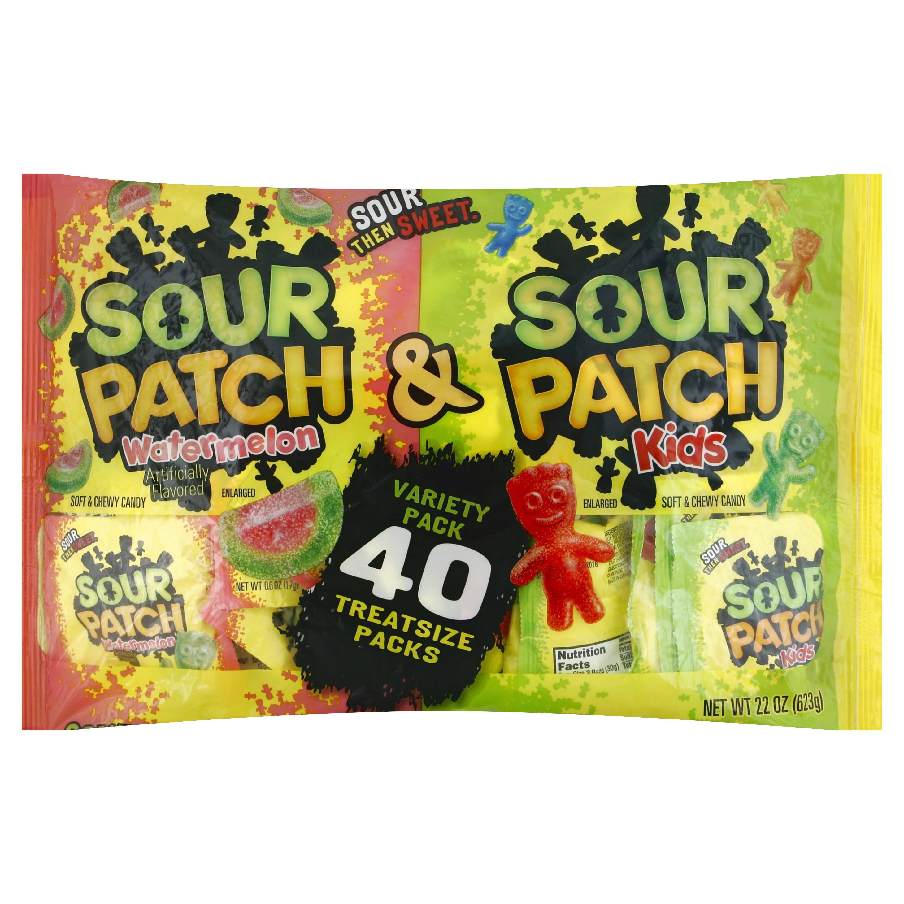 Sour Patch Kids and Sour Patch Watermelon Candy - Halloween Treat Size, 22oz