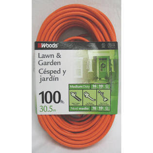 Woods General Purpose Extension Cord - Orange, 100ft