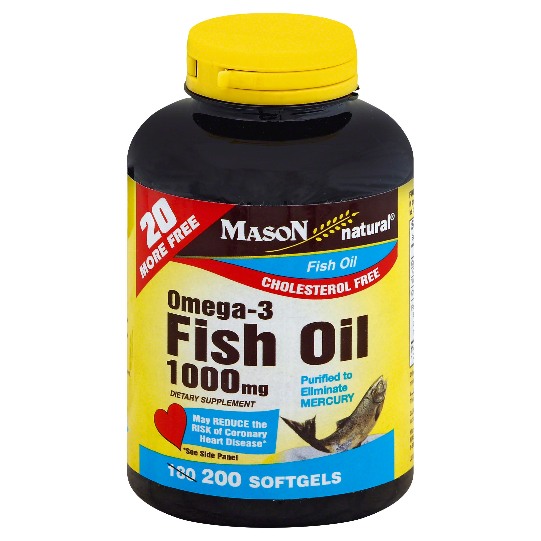 Mason Vitamins Omega-3 Fish Oil Dietary Supplement - 1000mg, 200 Softgels