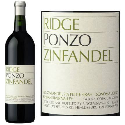Ridge Ponzo Vineyards Zinfandel, California (Vintage Varies) - 750 ml bottle