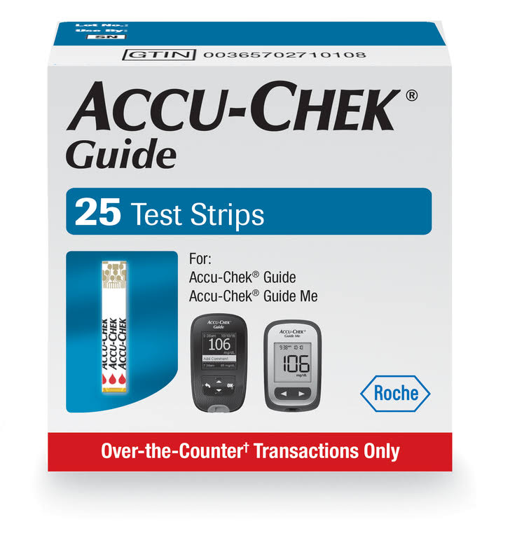 Accu Chek Guide Blood Glucose Test Strips Pack - 25pk