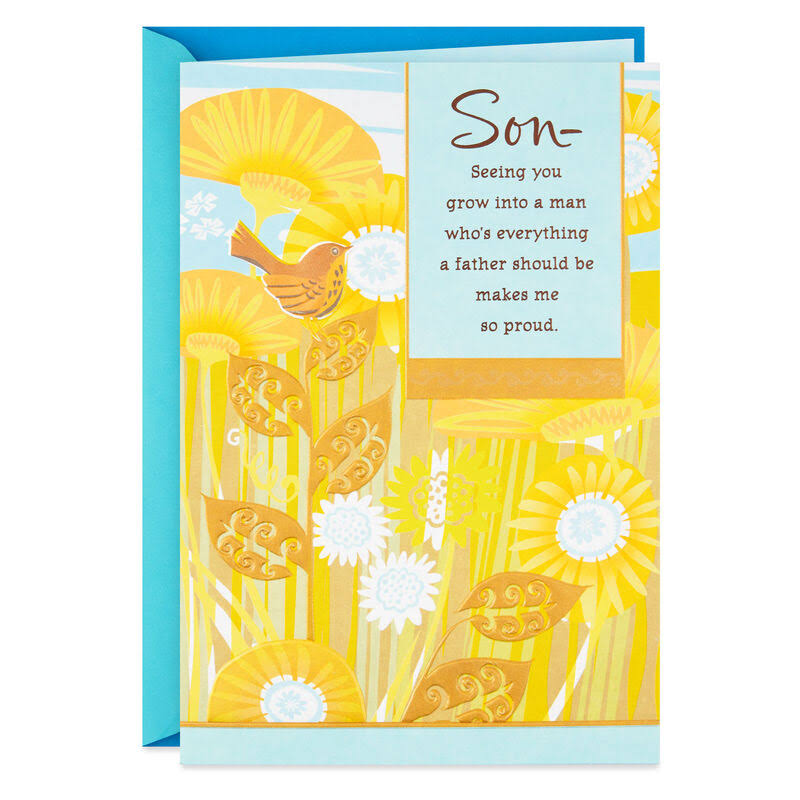 Yellow Field of Sunflowers Father's Day Card for Son