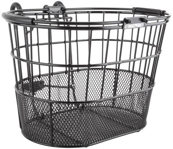 Sunlite Bicycle Basket - Front Wire, Mesh Oval Lift-Off, Standard Black with Bracket