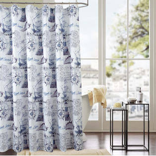 RT Designers Collection Classic Maritime 70 x 72 in. Printed Shower Curtain