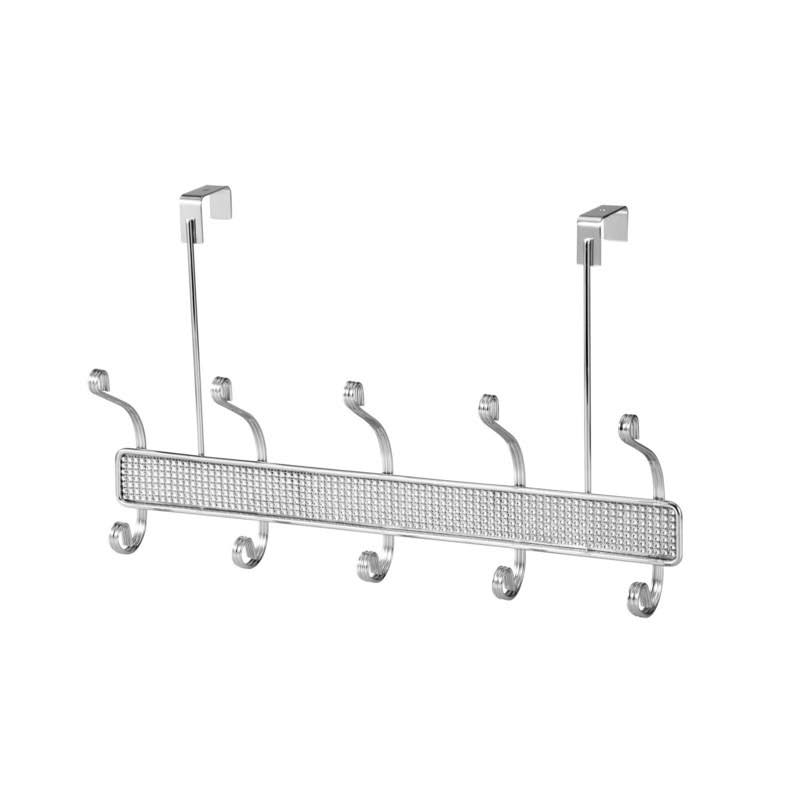 Dream Bath Chrome Over The Door Horizontal 10 Hook Bathroom Towel and Clothing Hanger with Diamond Cloth Decoration, Silver