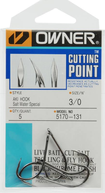 Owner Cutting Point Aki Hook - Size 3/0, Salt Water Special Black