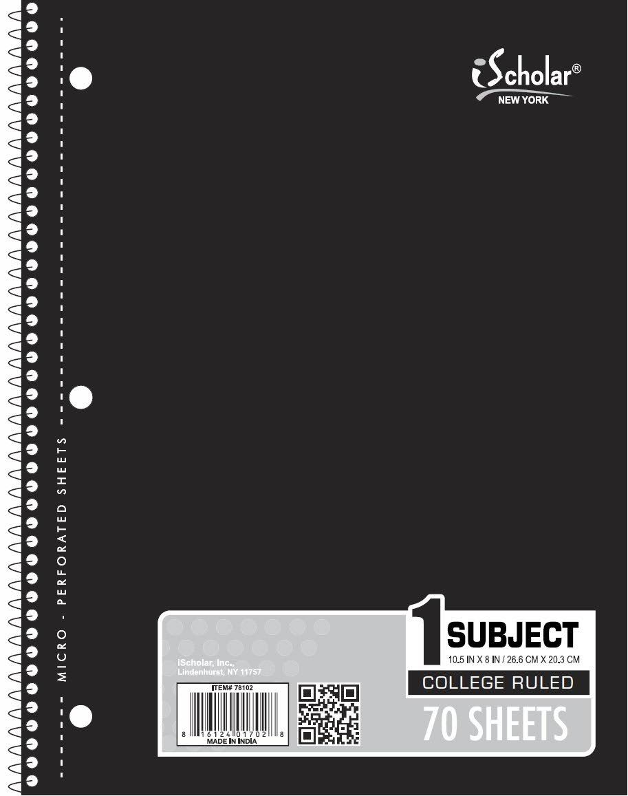 iScholar 1-Subject Wirebound Notebook - 70 Sheets