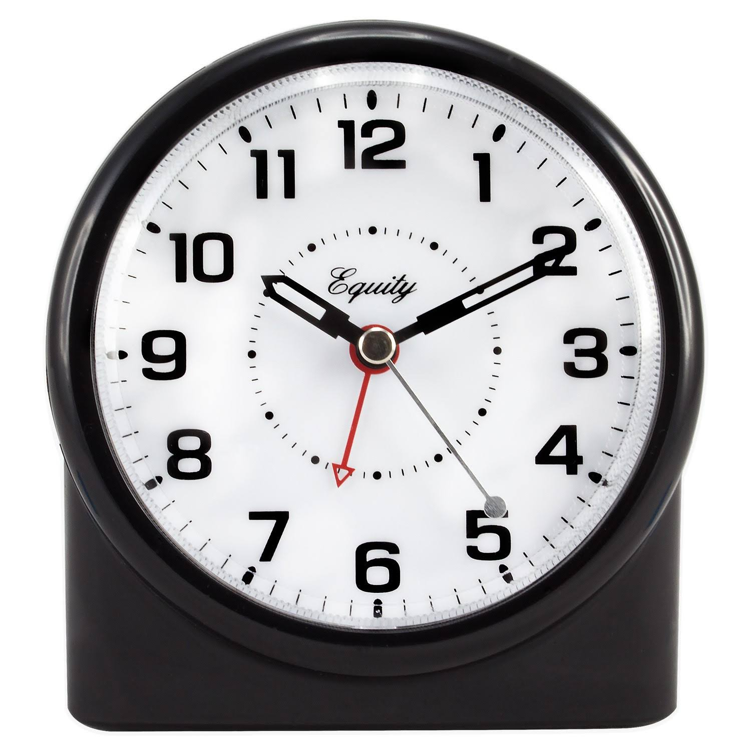 "Equity by La Crosse Analog Alarm Table Clock - Large, 4.72"", Black"