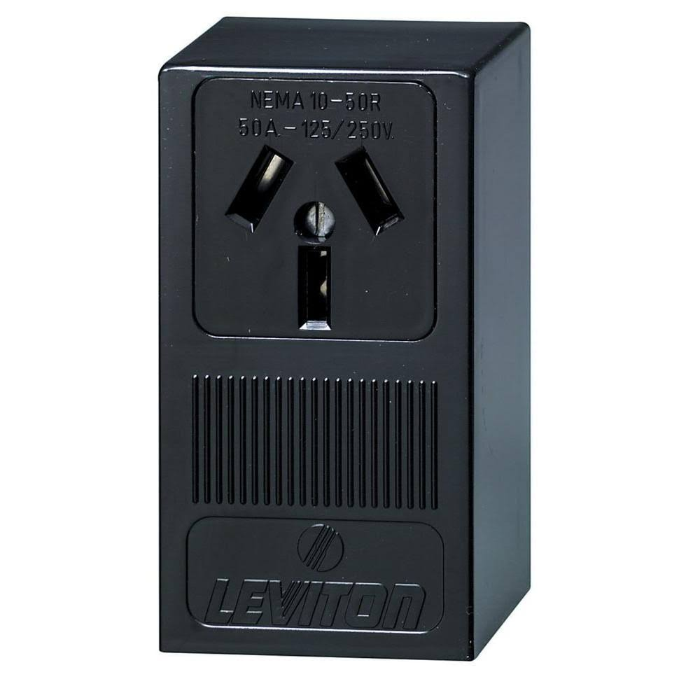 Leviton 50 Amp Thermoplastic Power Single Outlet, Black