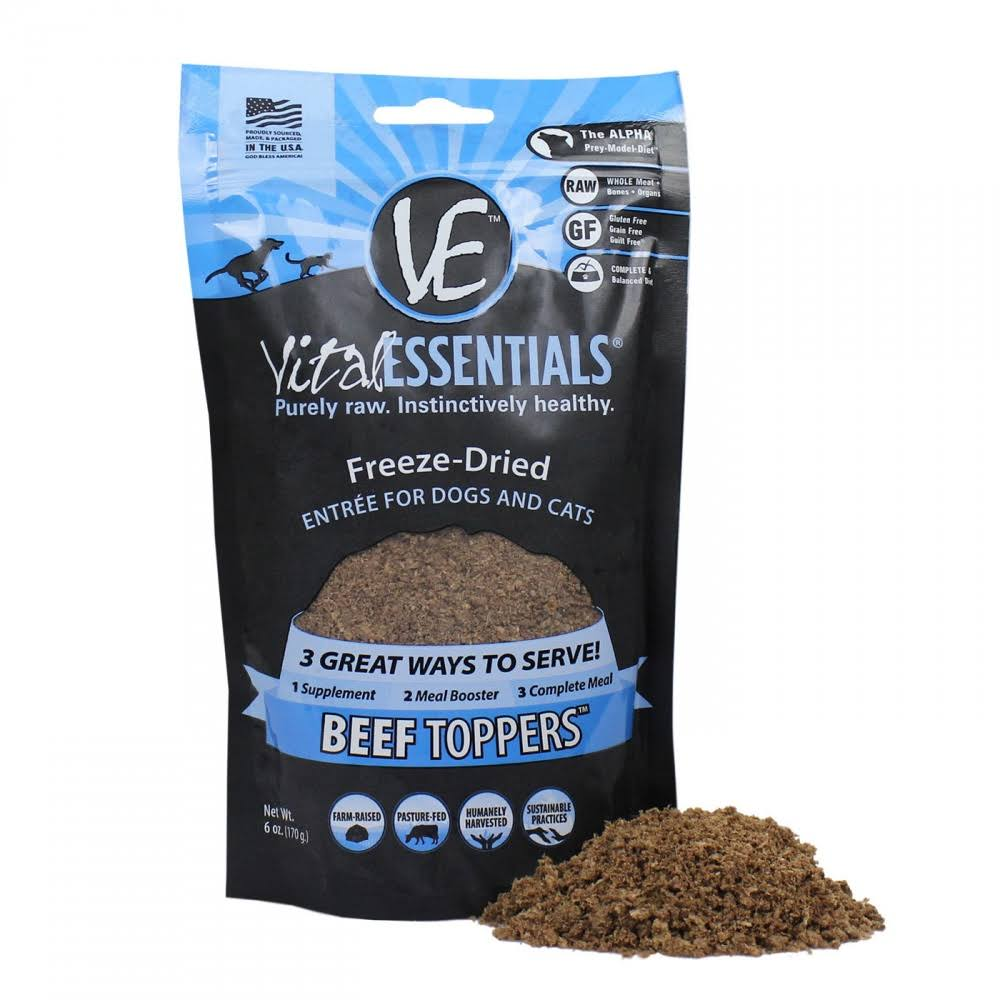 Vital Freeze Dried Beef Toppers for Cats and Dogs - 6oz