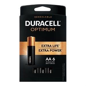 Duracell Optimum 1.5V Alkaline AA Batteries - 6 pack
