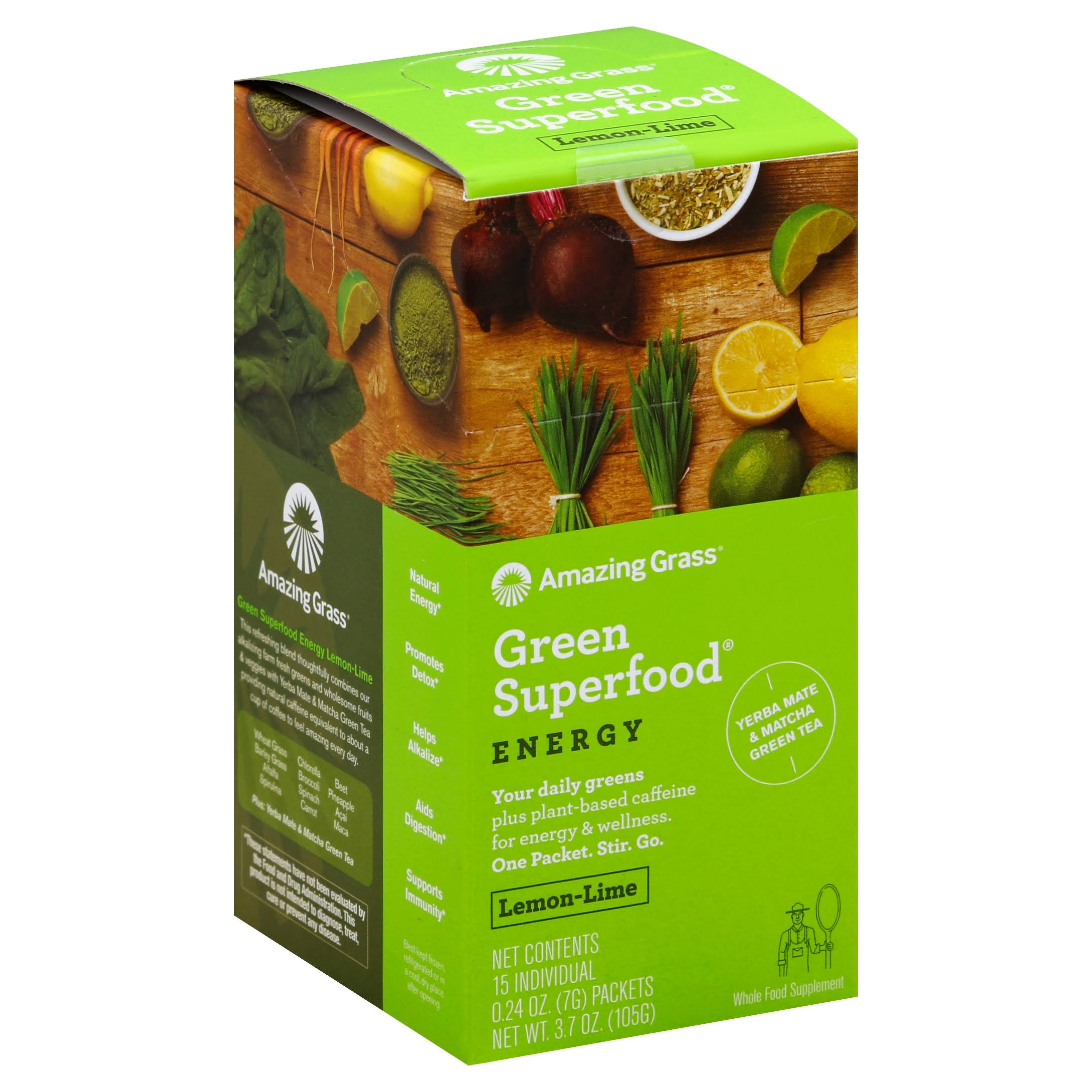 Amazing Grass Energy Green Superfood Powder - Lemon Lime, 15ct