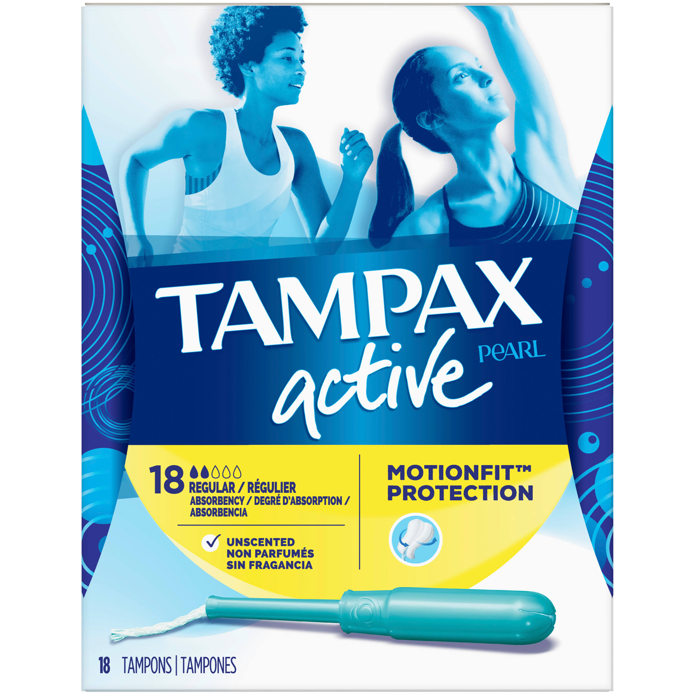 Tampax Regular Absorbency Plastic Applicator Tampons - Unscented, 18pcs