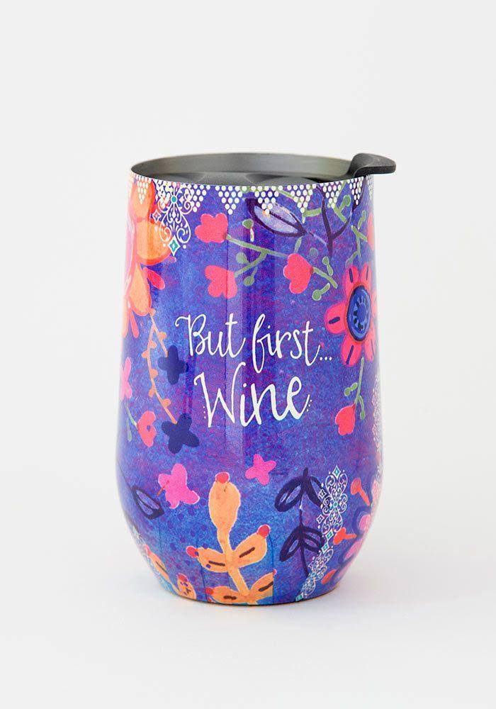 Natural Life But First Wine Tumbler Blue, Multi, Purple One Size