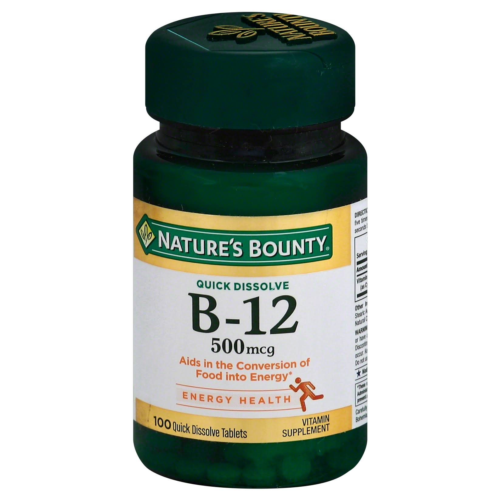 Nature's Bounty B-12 Sublingual Vitamin Supplement Microlozenges - Natural Cherry, 500mcg, x100