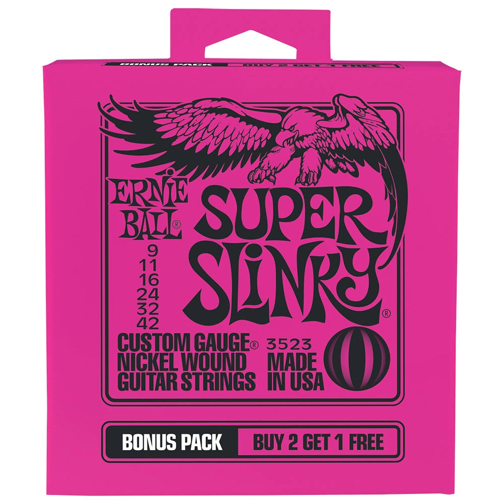 Ernie Ball P03523 Super Slinky Nickel Wound Electric Guitar Strings Bonus Pack