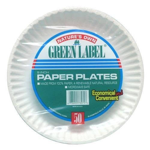 Green Label White Paper Plate - 9'', 50 Count
