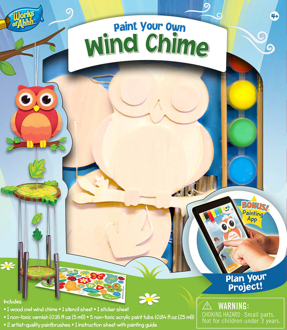 Masterpieces Wind Chime Wood Craft and Paint Kit - Works of Ahhh Owl