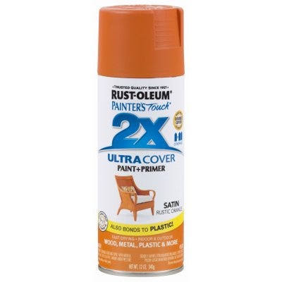 Rust-Oleum 314753 Painters Touch 2x Spray Paint - Satin Rustic Orange, 12oz