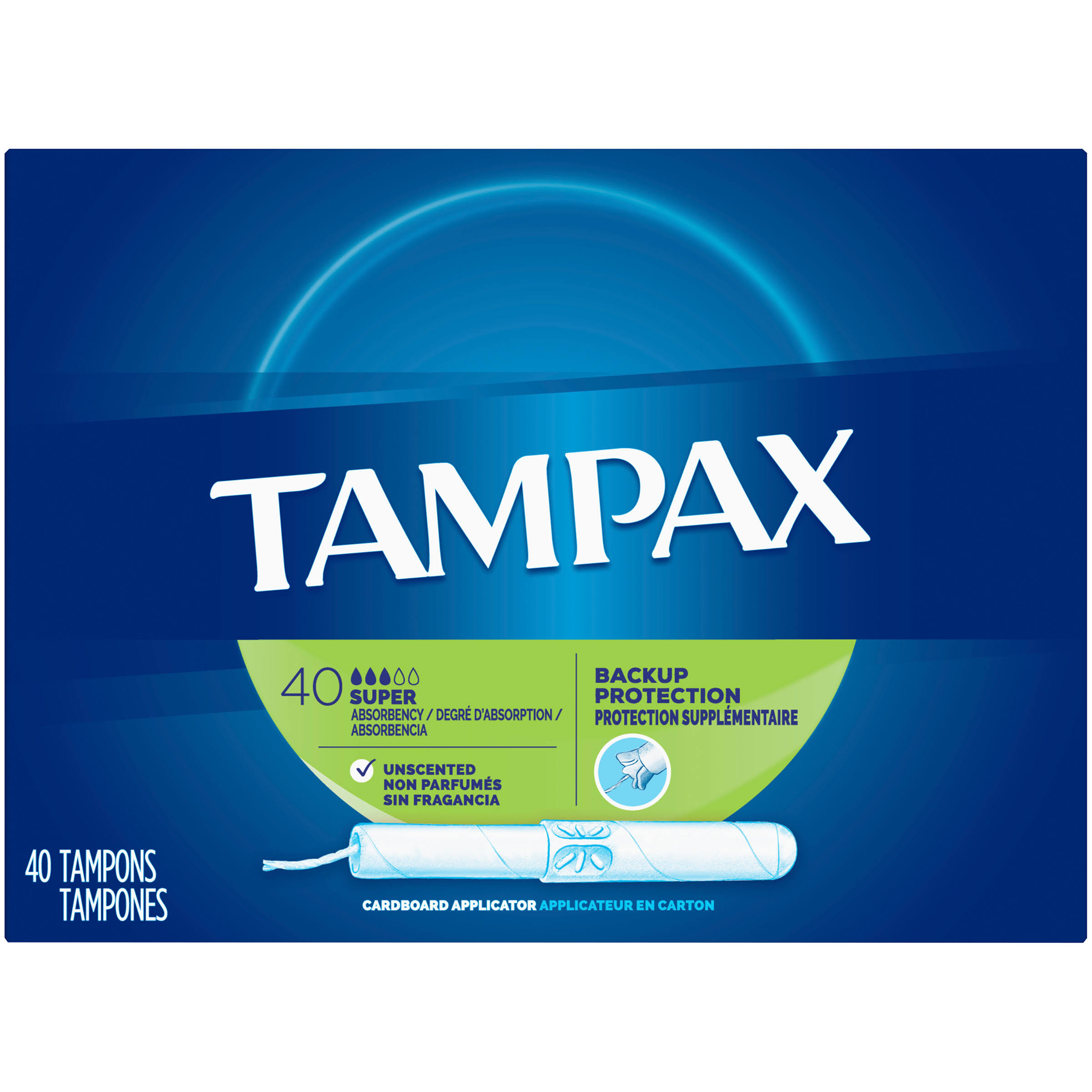 Tampax Super Absorbency Tampons - Unscented, 40pk