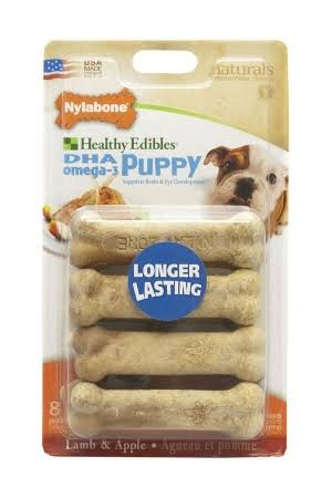 Nylabone Healthy Edibles Petite Dog Treat Bones - 8ct, Lamb and Apple Flavored