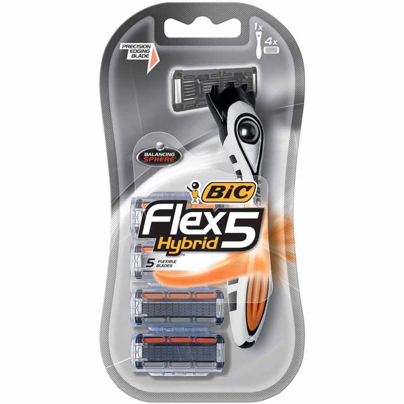 Bic Flex 5 Hybrid Disposable Razors - 4 Pack