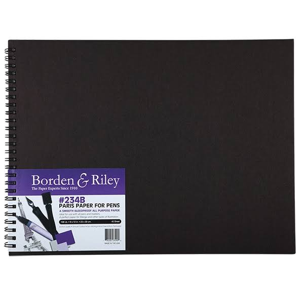 Borden & Riley 234 Paris Paper for Pens Hard Cover Sketch Book 9 in. x 12 in. 40 Sheets