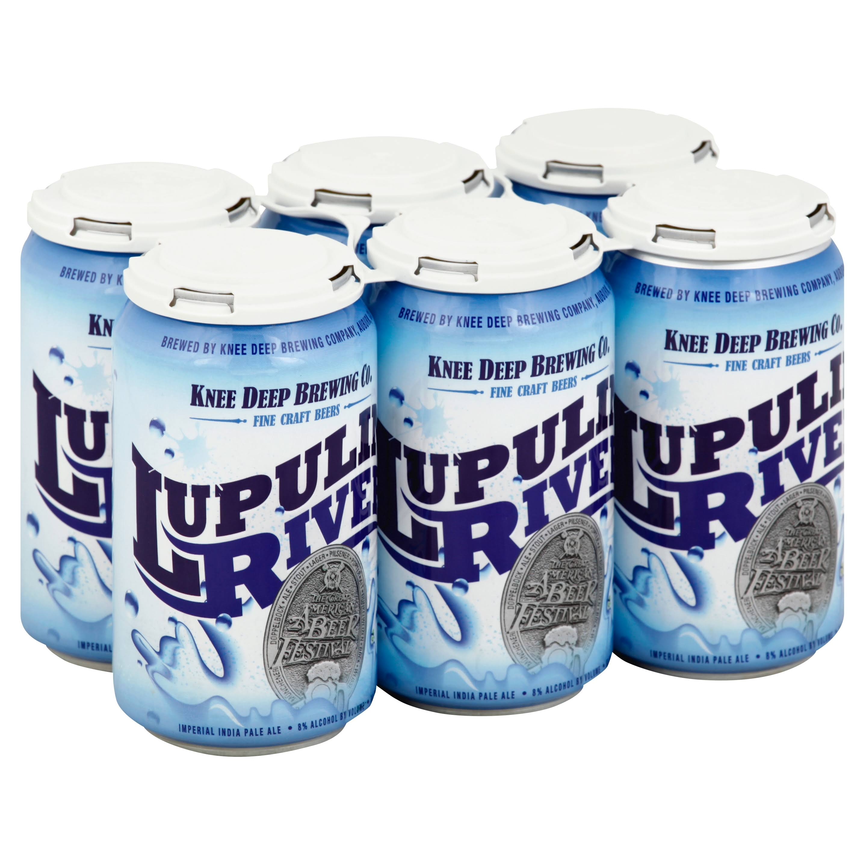 Knee Deep Brewing Beer, Imperial India Pale Ale, Lupulin River - 6 pack, 12 fl oz cans