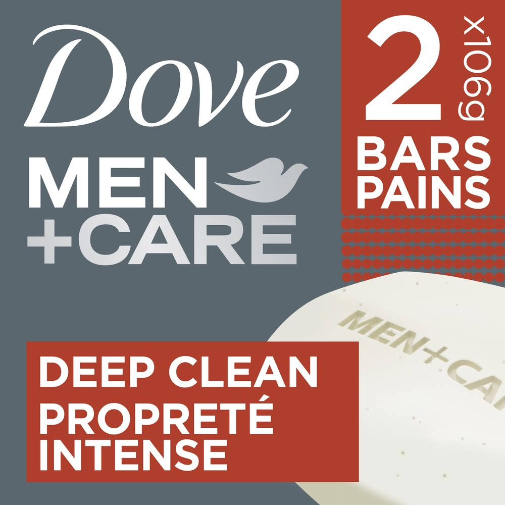 Dove Men Plus Care Body and Face Bath Bar - Deep Clean Extra Fresh, 4oz, 2ct