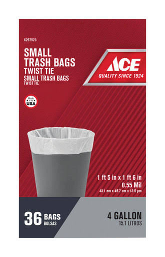 Ace Berry Plastics-Flex Films Trash Bag, 4 Gal - 36 count