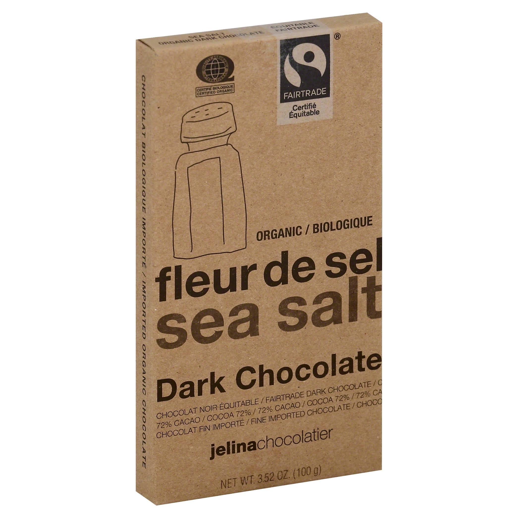 Jelina Chocolatier Dark Chocolate - Sea Salt, 3.35oz