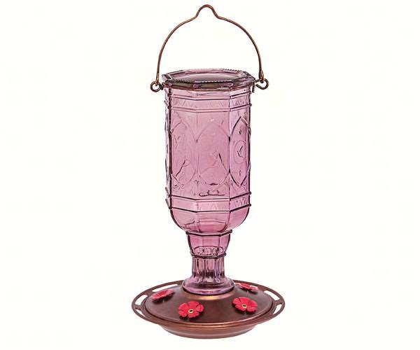 More Birds Jewel Vintage Antique Bottle Hummingbird Feeder - Amethyst , 23oz