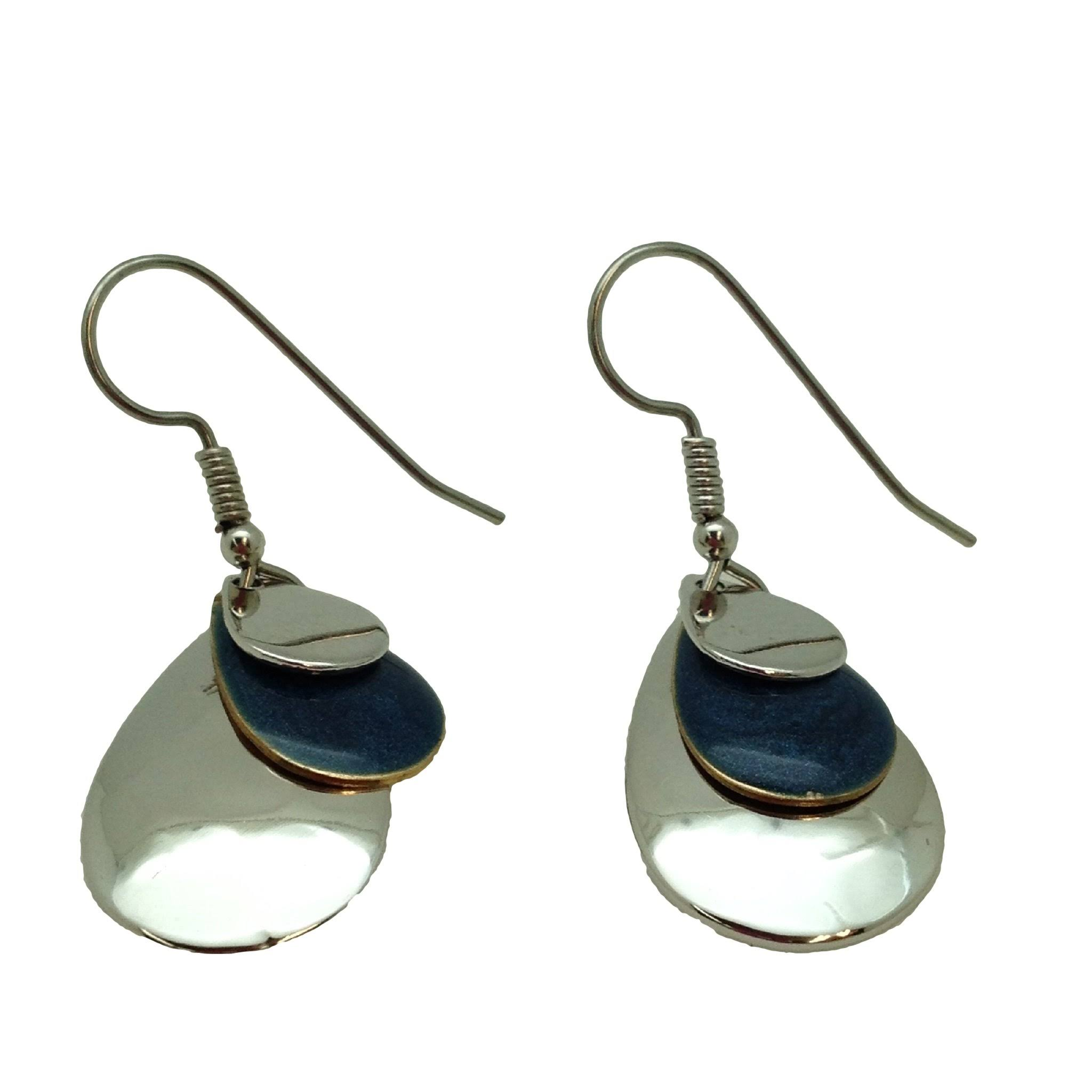 Silver Forest Blue and White Teardrop Earrings