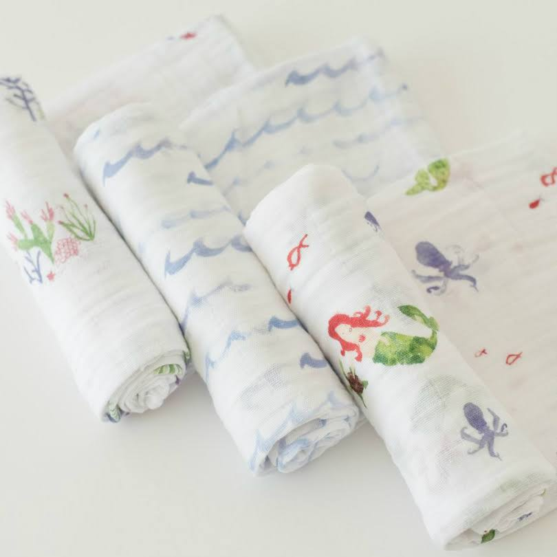 Little Unicorn Cotton Muslin Swaddle 3 Pack - Mermaid