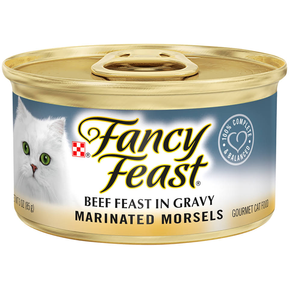 Purina Fancy Feast Marinated Morsels Gourmet Cat Food - Beef Feast In Gravy, 3oz