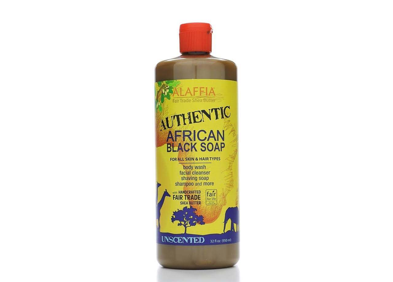 Alaffia Authentic African Black Soap - Unscented, 32oz