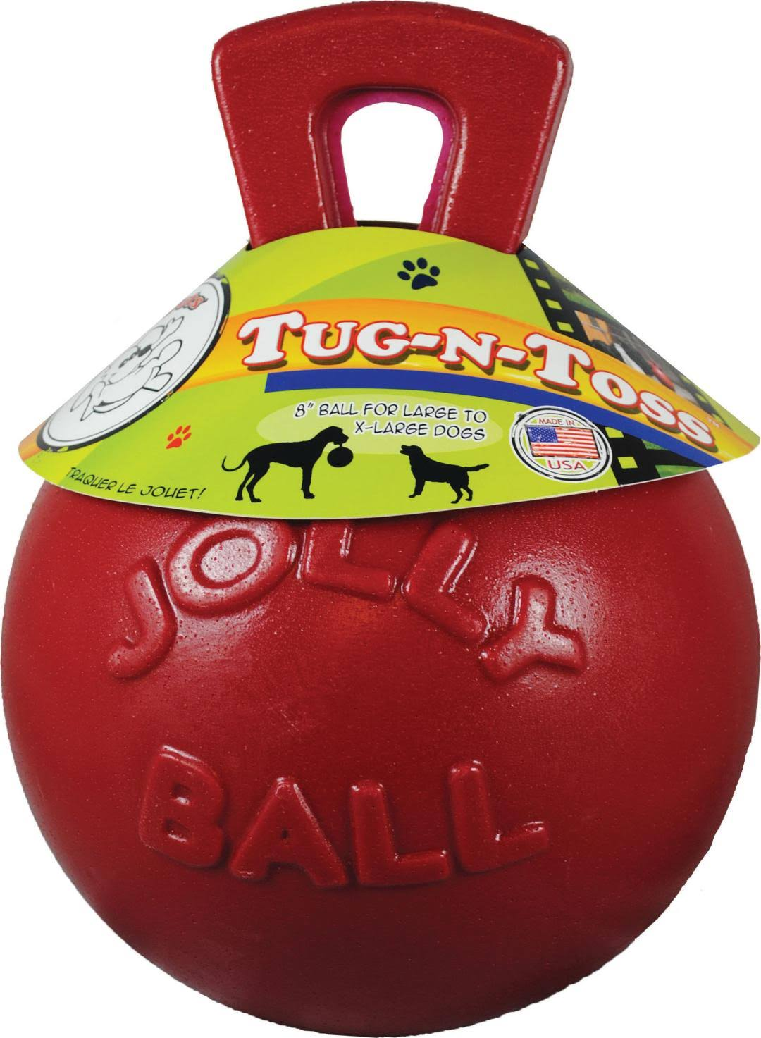 Jolly Pets Tug-N-Toss Ball Dog Toy - Red, 10''
