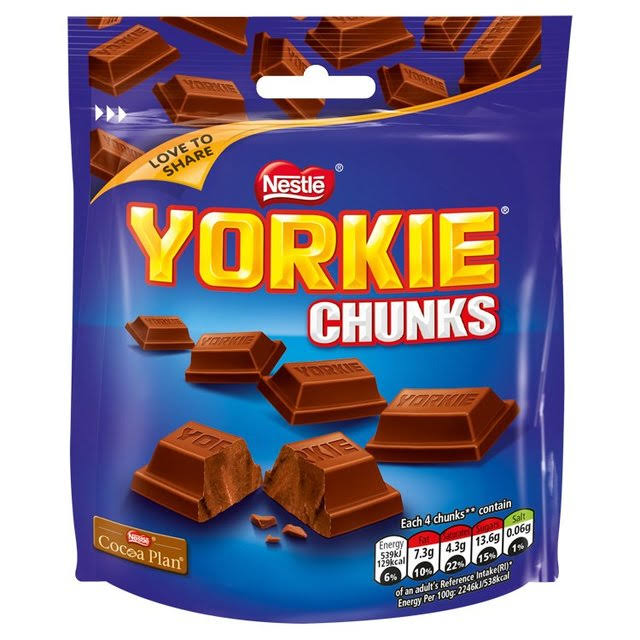 Nestle Yorkie Milk Chocolate Chunks Sharing Pouch - 100g