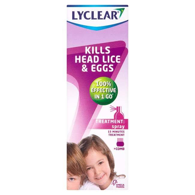 Lyclear Kills Head Lice & Eggs Spray + Comb - 100ml