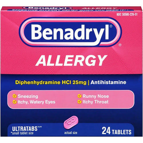 Benadryl Ultratab Allergy Tablets - 24 Tablets