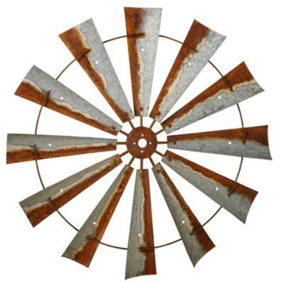 CBK Rusted Galvanized Metal Windmill Wall Decor
