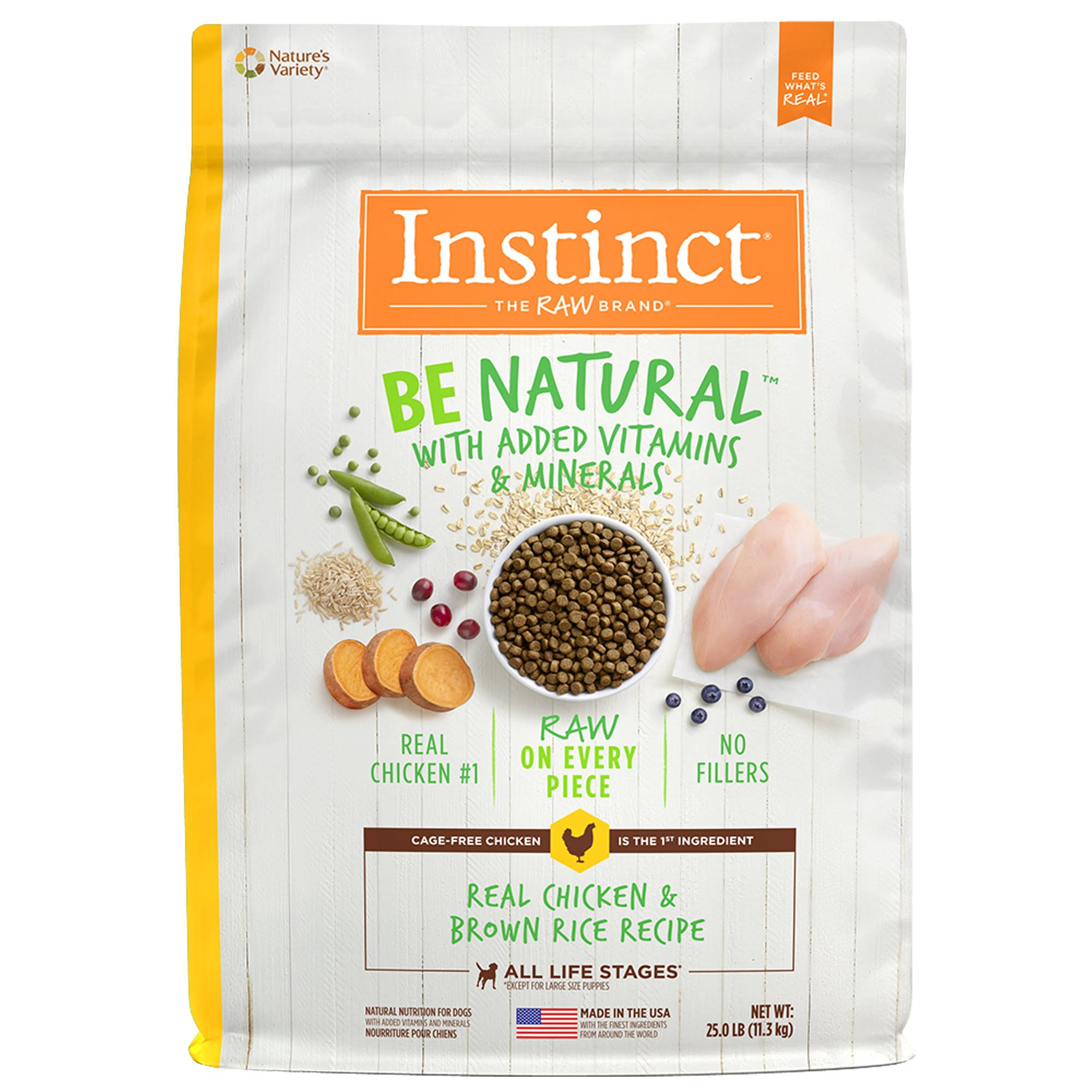 Instinct Be Natural Chicken & Brown Rice Recipe Dry Dog Food, 25 lb