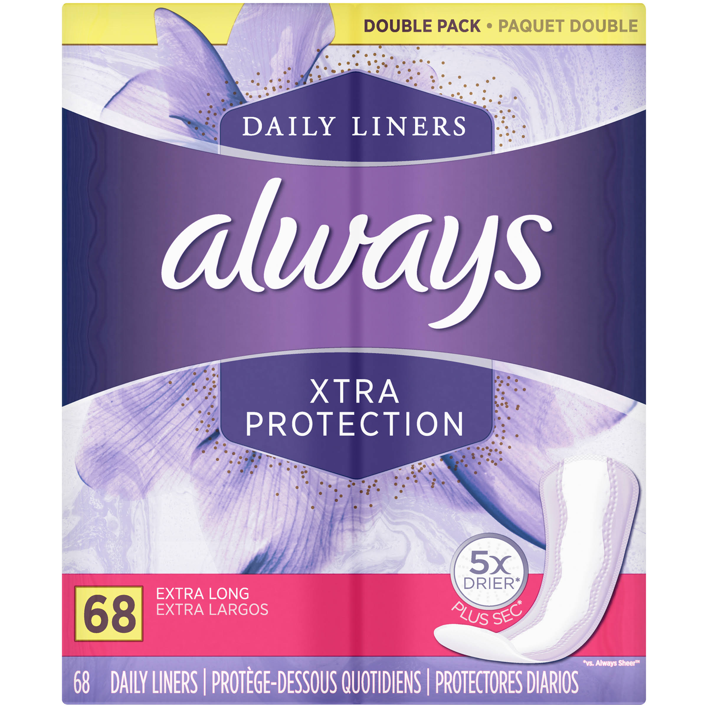 Always Dailies Xtra Protection Extra Long Liners - Double Pack, 68 Pack