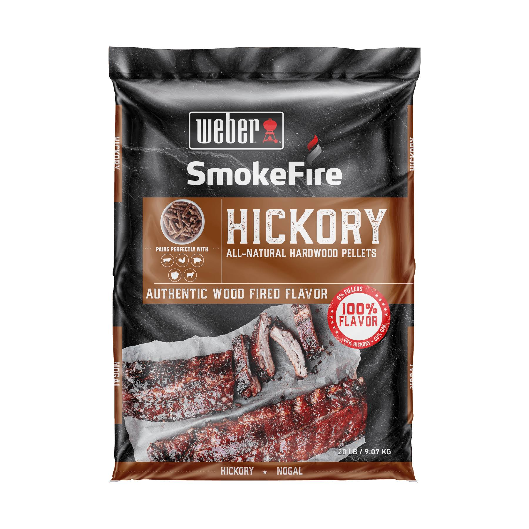 Weber 190002 SmokeFire Hickory All-Natural Hardwood Pellets - 20 lbs