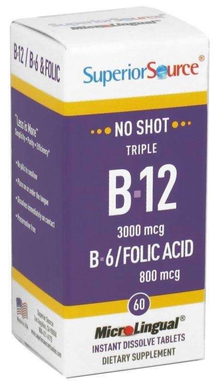 Superior Source B 12 Methylcobalamin Dietary Supplement - 60 tablets