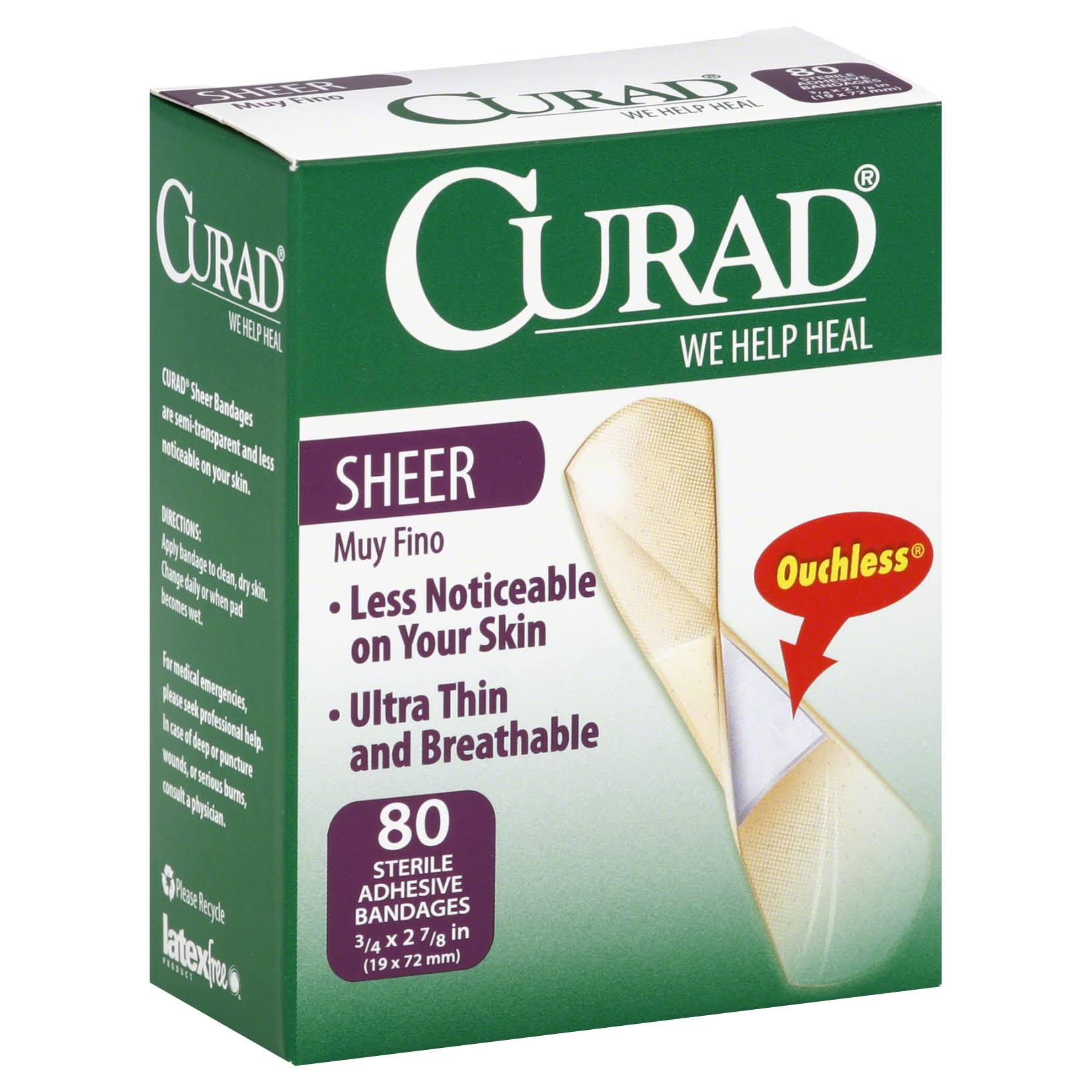 Curad Bandages, Adhesive, Sheer - 80 bandages