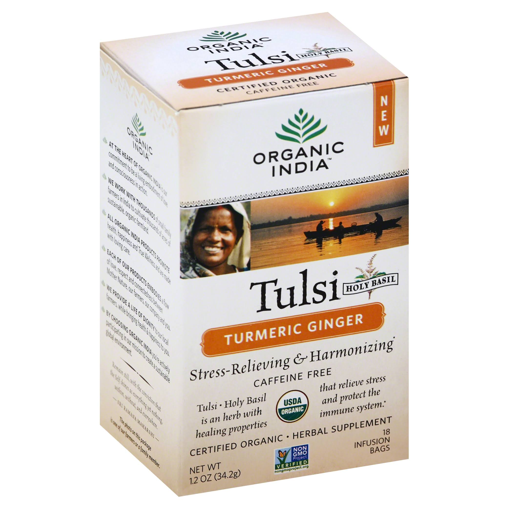 Organic India Tulsi Turmeric Ginger Tea - 18 Infusion Bags, 12oz