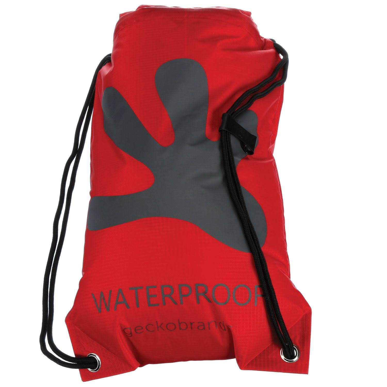 Gecko Unisex Waterproof Drawstring Backpack - Red/Grey, One Size