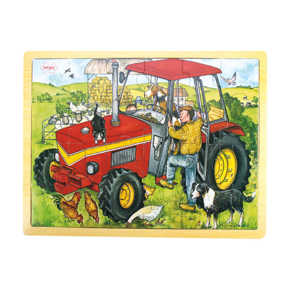 Bigjigs Toys Tray Puzzle - Tractor, 24 Pieces