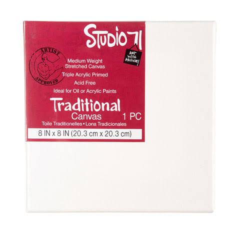 "Studio 71 Stretched Canvas Medium Weight Primed 8"" x 8"""